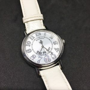 Juicy Couture crystals Analog Watch White Leather
